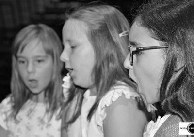 Tres niñas cantando en concierto